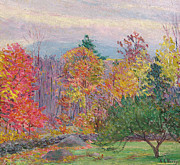 Turning Framed Prints - Landscape at Hancock in New Hampshire Framed Print by Lilla Cabot Perry