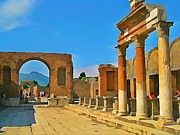 Halifax Artists Framed Prints - Landscape at Pompeii Italy Ruins Framed Print by John Malone