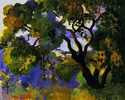 Landscape At St Tropez  2 Print by Pg Reproductions