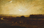 Golden Sunlight Paintings - Landscape at sunset by Marie Auguste Emile Rene Menard