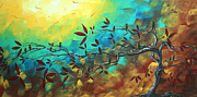 Contemporary Bird Painting Acrylic Prints - Landscape Bird Original Painting Family Time by MADART Acrylic Print by Megan Duncanson