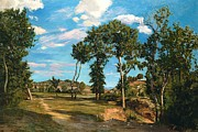 Path Painting Prints - Landscape by the Lez River Print by Jean Frederic Bazille