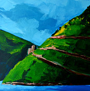 Mountain Range Paintings - Landscape Castle along the River Rhine by Patricia Awapara