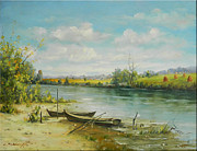 Romania Paintings - Landscape from Delta Dunarii by Petrica Sincu