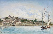 Town Docks Framed Prints - Landscape from Lake Leman to Nyon Framed Print by Johan Barthold Jongkind