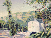Secluded Mountain Landscape Prints - Landscape in Provence Print by French School