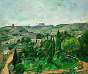 Pathways Painting Framed Prints - Landscape in the Ile-de-France Framed Print by Paul Cezanne