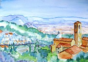 Tuscan Traditions Prints - Landscape in Tuscany with Medieval village  Print by Trudi Doyle