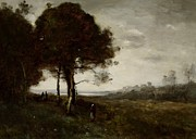 Meadow Paintings - Landscape by Jean Baptiste Camille Corot