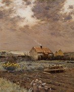 Farm Fields Paintings - Landscape by Jean Charles Cazin