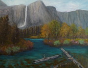 Yosemite Paintings - Landscape Nature Painting Yosemite by Amber Palomares