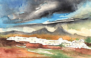 Canary Drawings Prints - Landscape of Lanzarote 01 Print by Miki De Goodaboom