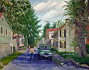 Seren Prints - Landscape Painting - Elsah Streetscape Oil Print by Daniel Fishback