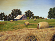 Bales Paintings - Landscape Painting - Harvest Time - Oil by Daniel Fishback