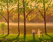 Patrick Paintings - Landscape painting Spring morning walking the dog. by Patrick ODriscoll