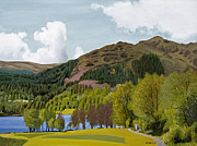 Seren Prints - Landscape Painting -Trossachs Scotland  Print by Daniel Fishback
