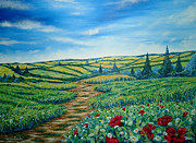 Impressionistic  On Canvas Paintings - Landscape Road Grass Poppies and Daisies by Drinka Mercep
