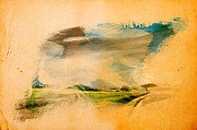 Paint Splash Photos - Landscape splashed on old grunge paper by Michal Bednarek