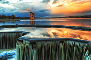 Scotland Landscape Prints Framed Prints - Landscape Strathclyde Park Weir  Framed Print by John Farnan