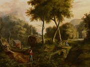 Woodsman Posters - Landscape Poster by Thomas Cole
