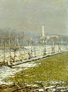 France From 1886 Prints - Landscape. Winter sun Print by Emilio Longoni