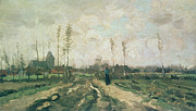 Chimneys Painting Posters - Landscape with a Church and Houses Poster by Vincent van Gogh