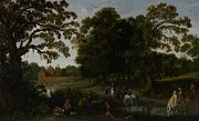 Manor Painting Posters - Landscape with a courtly procession before Abtspoel Castle Poster by Esaias I van de Velde