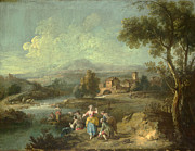 Famous Artists - Landscape with a Group of Figures Fishing by Giuseppe Zais