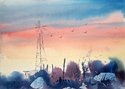 Sunset Art - Landscape with a Windmill by Micheal Jones