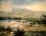 Landscape With Mountains Art - Landscape With Buffalo ont the Upper Missouri by Karl Bodmer