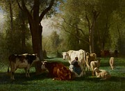 Milking Framed Prints - Landscape with Cattle and Sheep Framed Print by Constant Emile Troyon