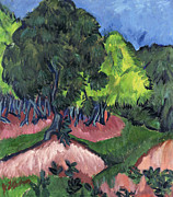 Die Brucke Prints - Landscape with Chestnut Tree Print by Ernst Ludwig Kirchner