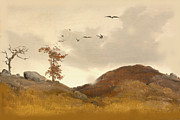 Autumn Scene Prints - Landscape With Crows Print by Karl Friedrich Lessing