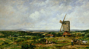 Horse And Cart Paintings - Landscape with Figures by a Windmill by Frederick Waters Watts
