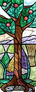 Mountains Glass Art Framed Prints - Landscape with flora Framed Print by Gilroy Stained Glass
