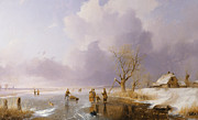Winter Sunset Paintings - Landscape with frozen canal by Remigius van Haanen