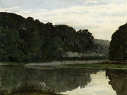 Peaceful Pond Paintings - Landscape with Heron by William Frederick Yeames