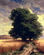 Trees Prints - Landscape with Oaks Print by Alexandre Calame