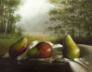 Landscape Oil Framed Prints - Landscape With Pears Framed Print by Larry Preston