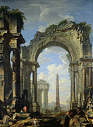 Paysage Paintings - Landscape with Ruins by Giovanni Niccolo Servandoni