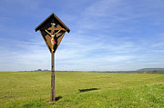 Wayside Metal Prints - Landscape with wayside crucifix Metal Print by Matthias Hauser