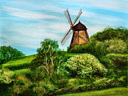 Landscape With Windmill Print by Gynt Art