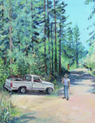 Peach Originals - Landscaper Truck and Redwood Trees by Asha Carolyn Young
