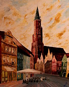 Dome Painting Originals - Landshut St Martin Church with Old Town by M Bleichner