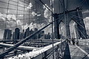 Walking Metal Prints - Lanes for pedestrian and bicycle traffic on the Brooklyn Bridge Metal Print by Amy Cicconi