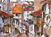 France Doors Painting Posters - Laneways of Nerac Poster by Shirley  Peters