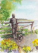 Wa Paintings - Langley Boy and Dog with Daffodils by Judi Nyerges