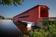 Covered Bridge Metal Prints - Langley Covered Bridge Michigan Metal Print by Steve Gadomski