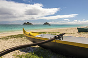 Brian Harig Framed Prints - Lanikai Beach Outrigger 1 - Oahu Hawaii Framed Print by Brian Harig