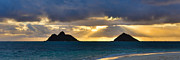Brianharig Framed Prints - Lanikai Beach Sunrise Panorama 2 - Kailua Oahu Hawaii Framed Print by Brian Harig